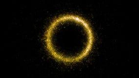Χρυσός ακτινοβολώντας κύκλος σκόνης αστεριών των λαμπιρίζοντας μορίων ιχνών στο μαύρο υπόβαθρο Μαγικός χρυσός κύκλος ελεύθερη απεικόνιση δικαιώματος