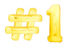 Χρυσός αριθμός ένας με το σύμβολο hashtag Στοκ Εικόνες
