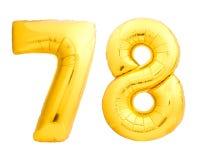 Χρυσός αριθμός 78 εβδομήντα οκτώ φιαγμένα από διογκώσιμο μπαλόνι Στοκ φωτογραφίες με δικαίωμα ελεύθερης χρήσης
