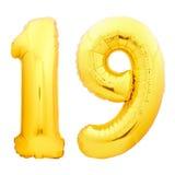 Χρυσός αριθμός 19 δεκαεννέα φιαγμένα από διογκώσιμο μπαλόνι Στοκ Φωτογραφία
