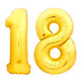 Χρυσός αριθμός 18 δεκαοχτώ φιαγμένα από διογκώσιμο μπαλόνι Στοκ Εικόνα