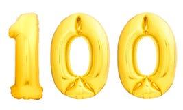 Χρυσός αριθμός 100 εκατό φιαγμένα από διογκώσιμο μπαλόνι Στοκ Εικόνες