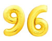 Χρυσός αριθμός 96 ενενήντα έξι φιαγμένα από διογκώσιμο μπαλόνι Στοκ Εικόνες