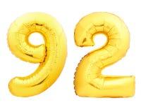 Χρυσός αριθμός 92 ενενήντα δύο φιαγμένα από διογκώσιμο μπαλόνι Στοκ Φωτογραφίες