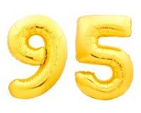 Χρυσός αριθμός 95 ενενήντα πέντε φιαγμένα από διογκώσιμο μπαλόνι Στοκ εικόνα με δικαίωμα ελεύθερης χρήσης