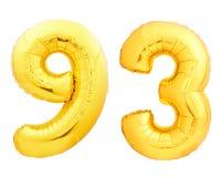 Χρυσός αριθμός 93 ενενήντα τρία φιαγμένα από διογκώσιμο μπαλόνι Στοκ Φωτογραφίες