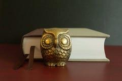Χρυσός αριθμός μιας κουκουβάγιας μπροστά από ένα βιβλίο στοκ φωτογραφία