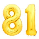 Χρυσός αριθμός 81 ογδόντα ένα φιαγμένα από διογκώσιμο μπαλόνι Στοκ Εικόνες