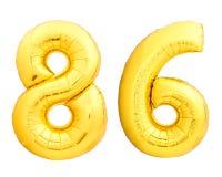 Χρυσός αριθμός 86 ογδόντα έξι φιαγμένα από διογκώσιμο μπαλόνι Στοκ Φωτογραφίες