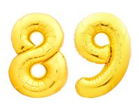 Χρυσός αριθμός 89 ογδόντα εννιά φιαγμένα από διογκώσιμο μπαλόνι Στοκ φωτογραφία με δικαίωμα ελεύθερης χρήσης