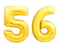 Χρυσός αριθμός 56 πενήντα έξι φιαγμένα από διογκώσιμο μπαλόνι Στοκ Εικόνες