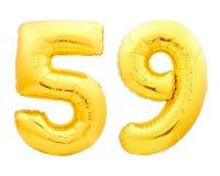 Χρυσός αριθμός 59 πενήντα εννέα φιαγμένα από διογκώσιμο μπαλόνι Στοκ Φωτογραφίες