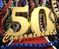 Χρυσός αριθμός πενήντα με τα συγχαρητήρια λέξεων σε ένα υπόβαθρο των ζωηρόχρωμων κορδελλών και του χαιρετισμού τρισδιάστατη απεικ ελεύθερη απεικόνιση δικαιώματος