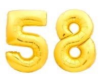 Χρυσός αριθμός 58 πενήντα οκτώ φιαγμένα από διογκώσιμο μπαλόνι Στοκ φωτογραφία με δικαίωμα ελεύθερης χρήσης