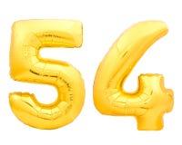 Χρυσός αριθμός 54 πενήντα τέσσερα φιαγμένα από διογκώσιμο μπαλόνι Στοκ Εικόνα