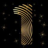 Χρυσός αριθμός 1 στα λωρίδες για τη ευχετήρια κάρτα Christmass ή το στοιχείο σχεδίου αφισών ελεύθερη απεικόνιση δικαιώματος