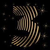 Χρυσός αριθμός 3 στα λωρίδες για τη ευχετήρια κάρτα Christmass ή το στοιχείο σχεδίου αφισών ελεύθερη απεικόνιση δικαιώματος