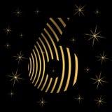 Χρυσός αριθμός 6 στα λωρίδες για τη ευχετήρια κάρτα Christmass ή το στοιχείο σχεδίου αφισών ελεύθερη απεικόνιση δικαιώματος