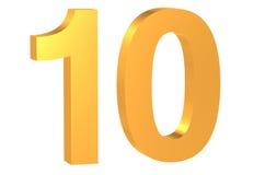 Χρυσός αριθμός 10 Στοκ φωτογραφία με δικαίωμα ελεύθερης χρήσης