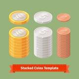 Χρυσός, ασήμι και συσσωρευμένα χαλκός νομίσματα ελεύθερη απεικόνιση δικαιώματος