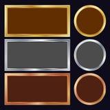 Χρυσός, ασήμι, χαλκός, διάνυσμα πλαισίων μετάλλων χαλκού Ορθογώνιος, στρογγυλός Ρεαλιστική μεταλλική απεικόνιση πιάτων διανυσματική απεικόνιση