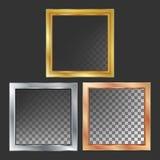 Χρυσός, ασήμι, χαλκός, διάνυσμα πλαισίων μετάλλων χαλκού τετράγωνο Ρεαλιστική μεταλλική απεικόνιση πιάτων ελεύθερη απεικόνιση δικαιώματος