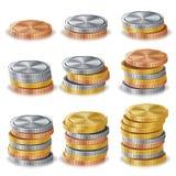 Χρυσός, ασήμι, χαλκός, διάνυσμα σωρών νομισμάτων χαλκού Ρεαλιστική απομονωμένη απεικόνιση Στοκ Εικόνες