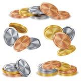 Χρυσός, ασήμι, χαλκός, διάνυσμα σωρών νομισμάτων χαλκού Ρεαλιστική απομονωμένη απεικόνιση ελεύθερη απεικόνιση δικαιώματος
