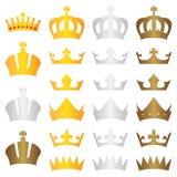 Χρυσός ασημένιος χαλκός κορωνών βασιλιάδων Στοκ εικόνες με δικαίωμα ελεύθερης χρήσης