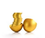 χρυσός αυγών που απομονών Στοκ Εικόνες