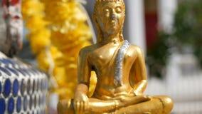 Χρυσός βουδιστικός στενός επάνω αγαλμάτων του Βούδα στο υπόβαθρο ενός όμορφου επιχρυσωμένου ναού με ποικίλες διακοσμήσεις και απόθεμα βίντεο