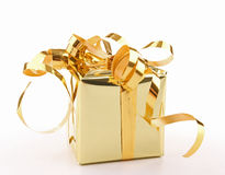 χρυσός δώρων κιβωτίων που &a Στοκ Εικόνα