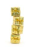 χρυσός δώρων κιβωτίων που &s Στοκ φωτογραφίες με δικαίωμα ελεύθερης χρήσης
