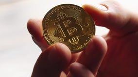 Χρυσός εκμετάλλευσης ατόμων bitcoin υπό εξέταση Κινηματογράφηση σε πρώτο πλάνο απόθεμα βίντεο