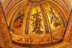 Χρυσός θόλος Σαν Φρανσίσκο EL Grande Μαδρίτη Ισπανία νωπογραφιών Στοκ Εικόνες