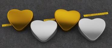 Χρυσός και ασήμι καρδιών Στοκ Εικόνα