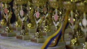 Χρυσός και ασημένια μετάλλια του τελικού του ουκρανικού φλυτζανιού ράγκμπι Ανθοδέσμη από τα αθλητικά μετάλλια, φλυτζάνι πρωτοπόρω απόθεμα βίντεο
