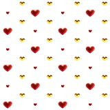 Χρυσός και κόκκινος πολύχρωμος διακοσμήσεων καρδιών αγάπης Ρομαντική ευτυχής σχέση χαράς Έννοια σχεδίων ημέρας βαλεντίνων Στοκ Εικόνα