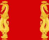 Χρυσός κινεζικός δράκος πλαισίων Στοκ Φωτογραφία