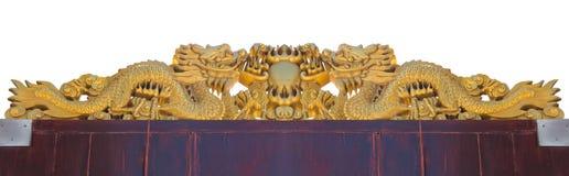 Χρυσός κινεζικός δράκος στο άσπρο υπόβαθρο Στοκ Εικόνες