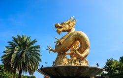 Χρυσός κινεζικός δράκος της Ταϊλάνδης Στοκ εικόνες με δικαίωμα ελεύθερης χρήσης