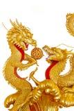 Χρυσός κινεζικός δράκος δύο Στοκ φωτογραφίες με δικαίωμα ελεύθερης χρήσης