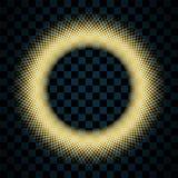 Χρυσός κύκλος που απομονώνεται στο διαφανές μαύρο υπόβαθρο Χρυσό πλαίσιο δαχτυλιδιών Ακτινοβολήστε γύρω από με τα φωτεινά σπινθηρ ελεύθερη απεικόνιση δικαιώματος