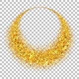 Χρυσός κύκλος Το φως ακτινοβολεί επίδραση Χρυσό δαχτυλίδι, απομονωμένο άσπρο διαφανές υπόβαθρο Μαγικό στοιχείο έλλειψης foil διανυσματική απεικόνιση