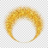 Χρυσός κύκλος Το φως ακτινοβολεί επίδραση Χρυσό δαχτυλίδι, απομονωμένο άσπρο διαφανές υπόβαθρο Μαγικό στοιχείο έλλειψης foil ελεύθερη απεικόνιση δικαιώματος
