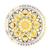 Χρυσός κύκλος Mandala της μορφής λουλουδιών Στοκ Φωτογραφίες