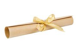 χρυσός κύλινδρος εγγράφ&omi Στοκ εικόνα με δικαίωμα ελεύθερης χρήσης