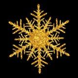 Χρυσός λαμπρός ακτινοβολεί snowflake στο μαύρο υπόβαθρο ελεύθερη απεικόνιση δικαιώματος