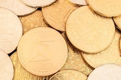 Χρυσός λαμπρός σωρός νομισμάτων Ethereum Στοκ Φωτογραφία