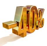 Χρυσός -40%, μείον το σημάδι έκπτωσης σαράντα τοις εκατό Στοκ φωτογραφία με δικαίωμα ελεύθερης χρήσης